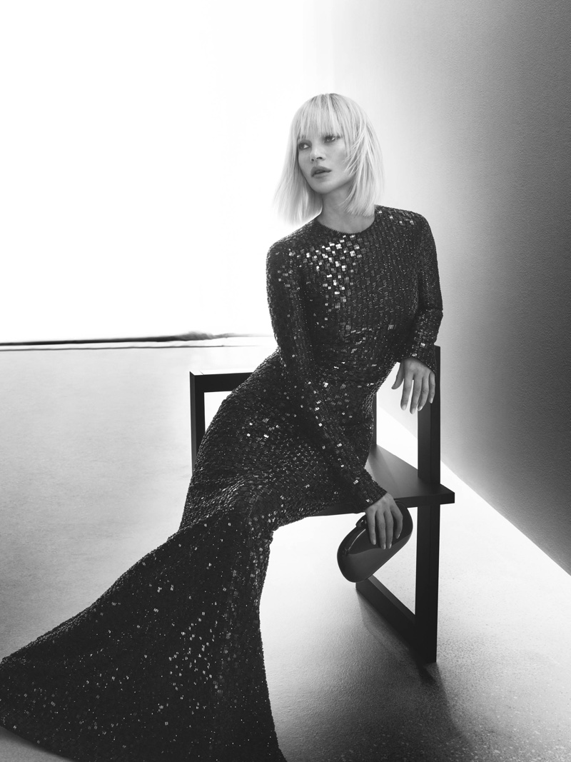 Kate Moss poses in sequined dress for Giorgio Armani fall-winter 2019 campaign