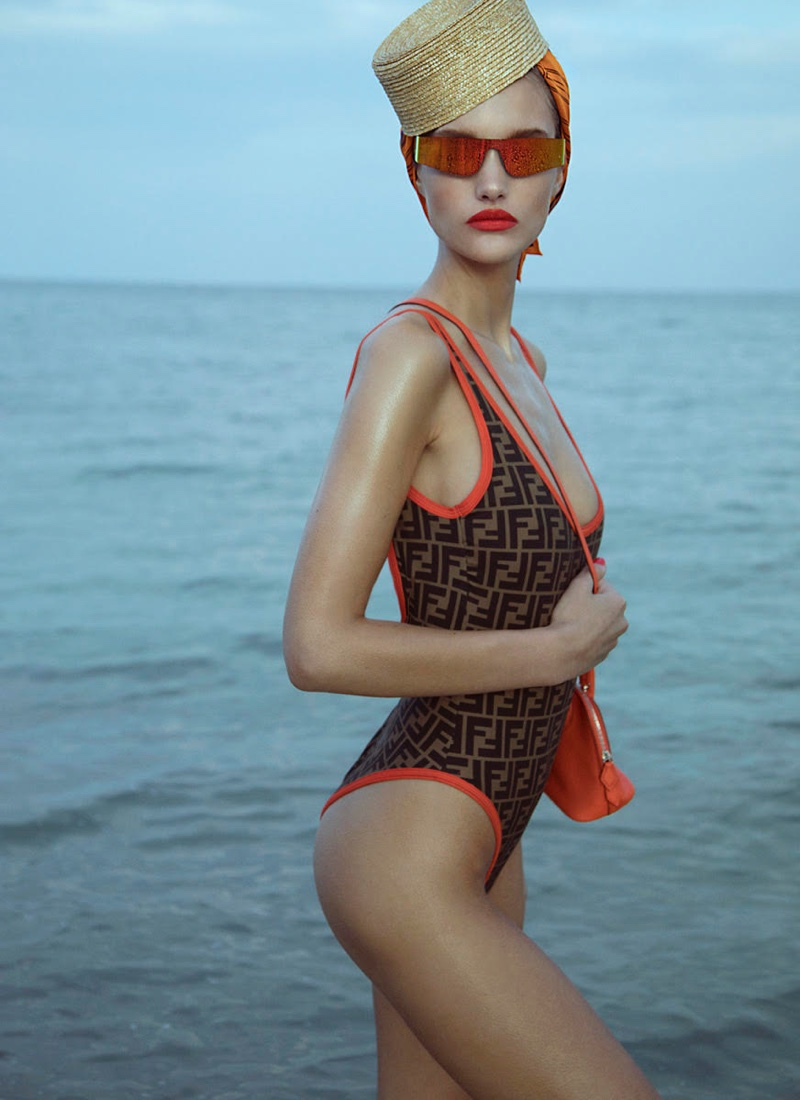 Kinga Trojan Hits the Beach in Cool Swimwear for InStyle Germany