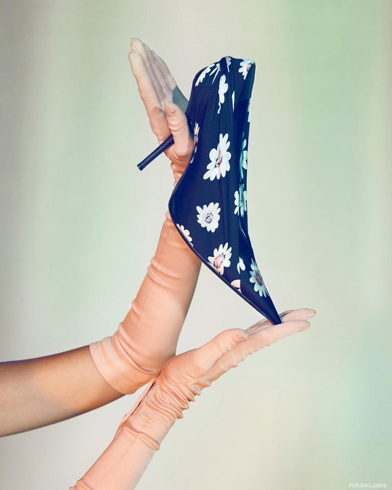 Gloves vintage and Shoes Balenciaga. Photo: Milos Mlynarik