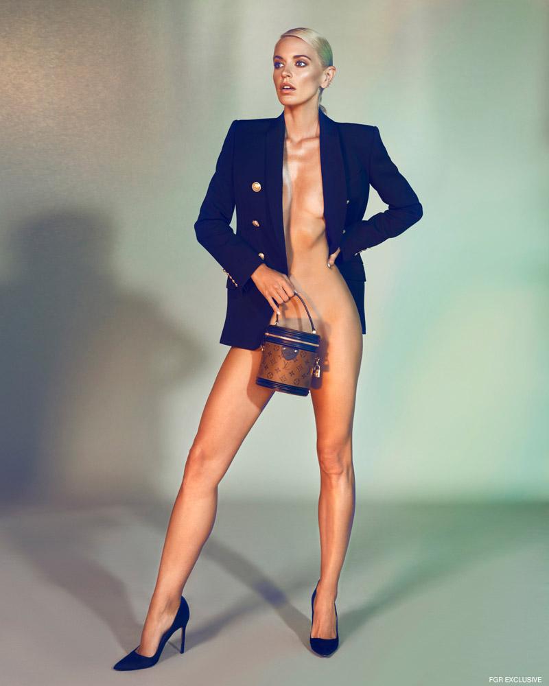 Jacket Balmain, Bag Louis Vuitton and Shoes Manolo Blahnik. Photo: Milos Mlynarik