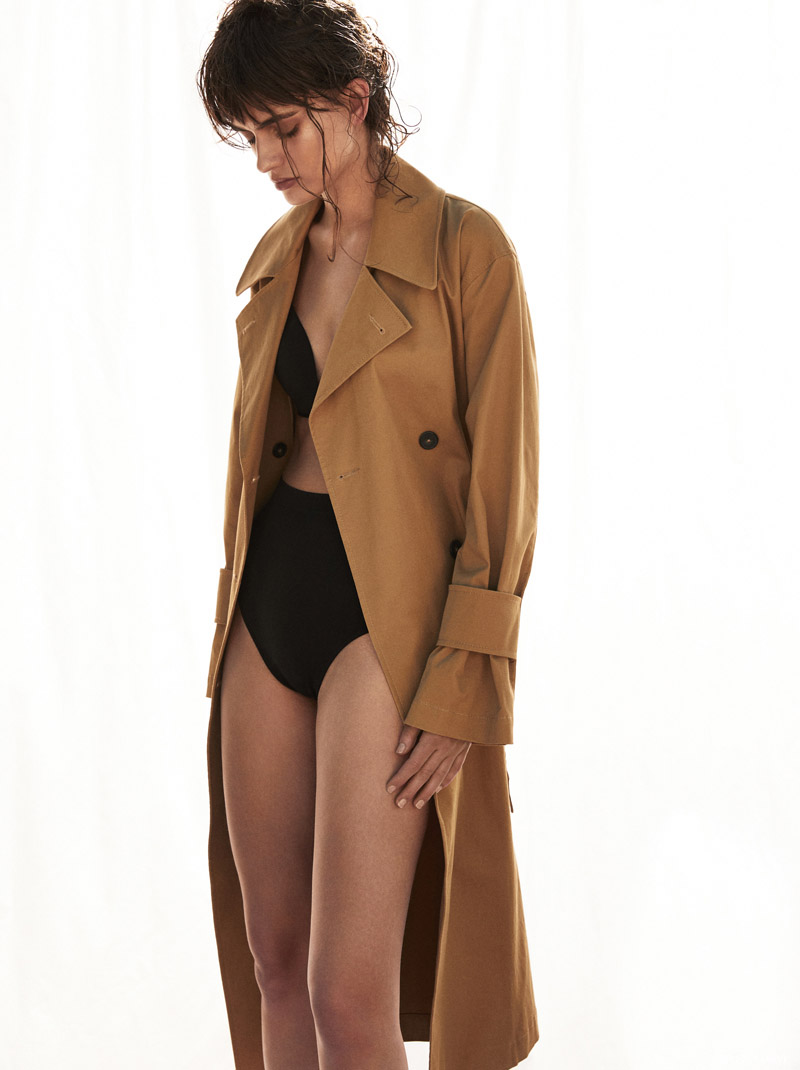 Incu Trenchcoat and Calvin Klein Bra & Briefs. Photo: Jeremy Choh