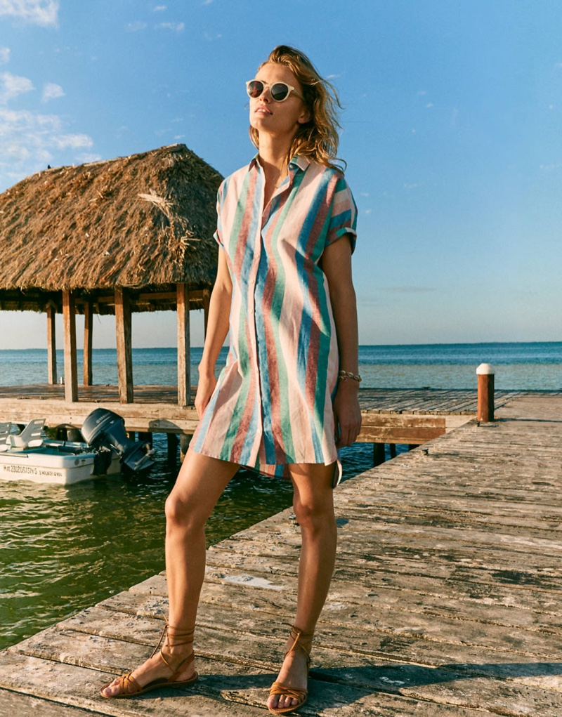 Madewell Central Shirtdress $98, Layton Sunglasses $55 and The Boardwalk Woven Lace-Up Sandal $59.50