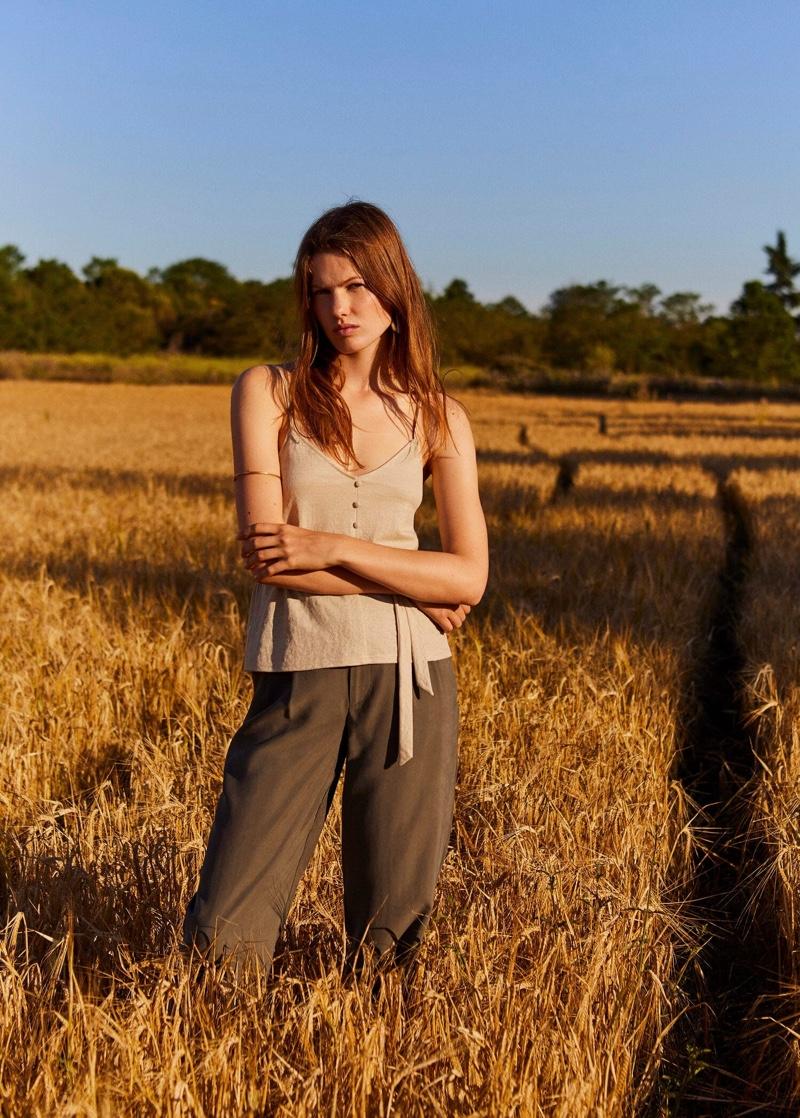 Model Roos van Elk poses in Mango's summer 2019 styles