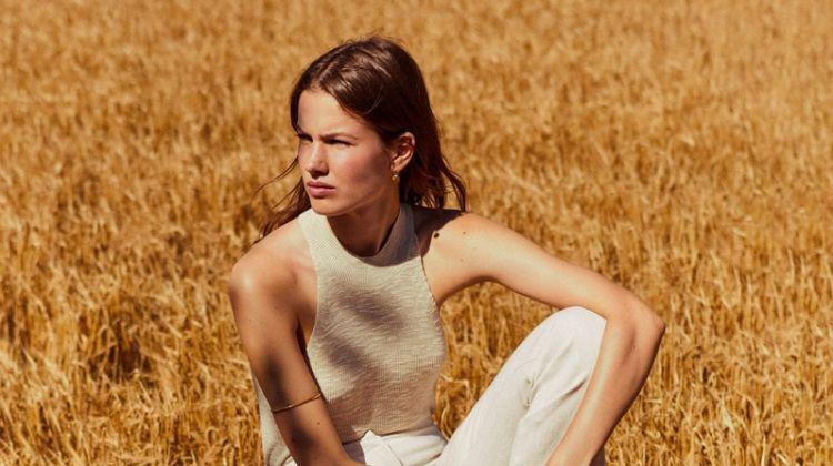 Dressed in cream, Roos van Elk fronts Mango summer 2019 lookbook