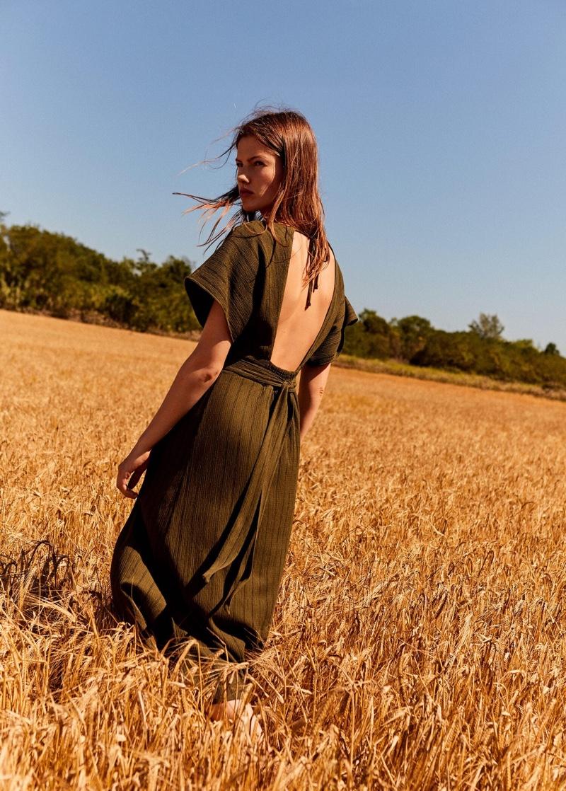Mango Striped Textured Dress
