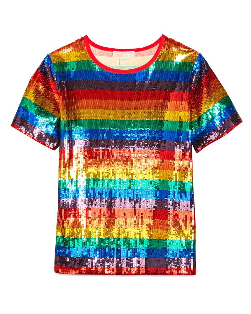 Michael Michael Kors Rainbow Sequined Cotton Jersey T-Shirt