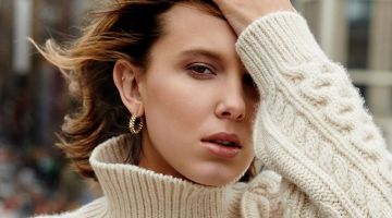 Actress Millie Bobby Brown wears Celine sweater with Clash de Cartier jewelry