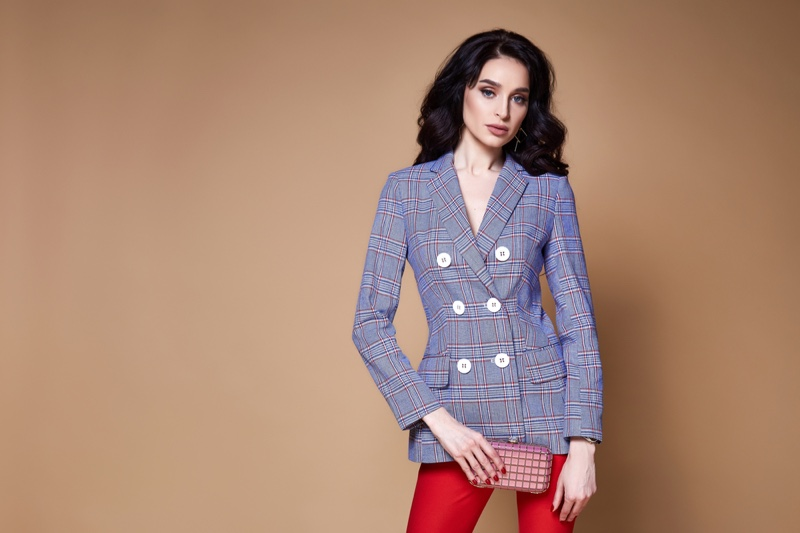 Model Business Suit Jacket Bag Pants