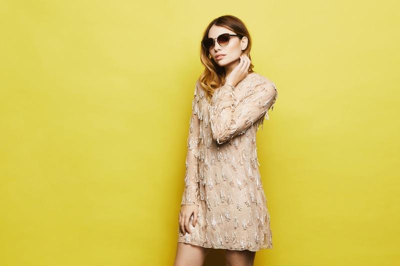 Model Embellished Mini Dress Sunglasses