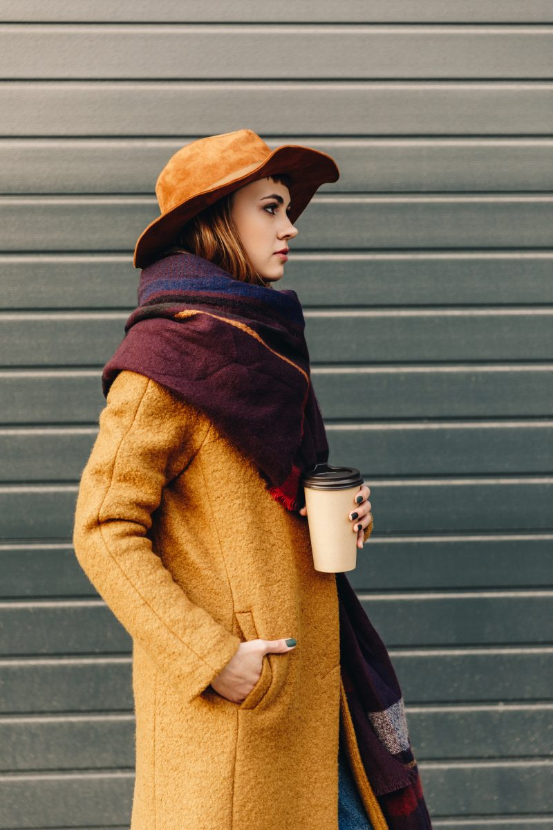 Model Fall Style Coat and Scarf