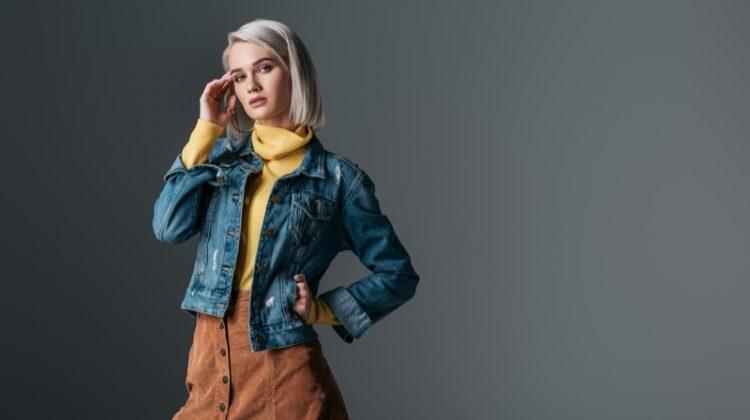 Model Fashion Denim Jacket Turtleneck Corduroy Skirt