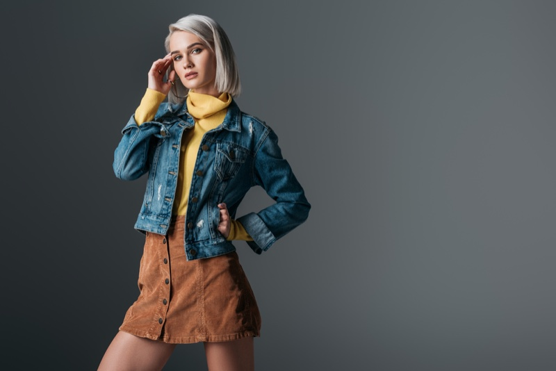 Model Fashion Denim Jacket Turtleneck Corduroy Skirt
