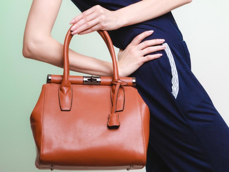 Model Leather Handbag Brown