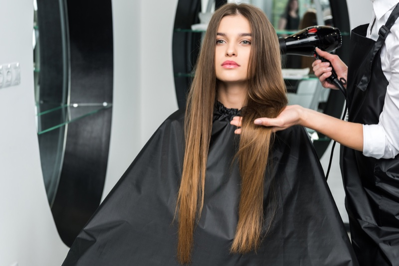 Model Long Hair Salon Blow Dry
