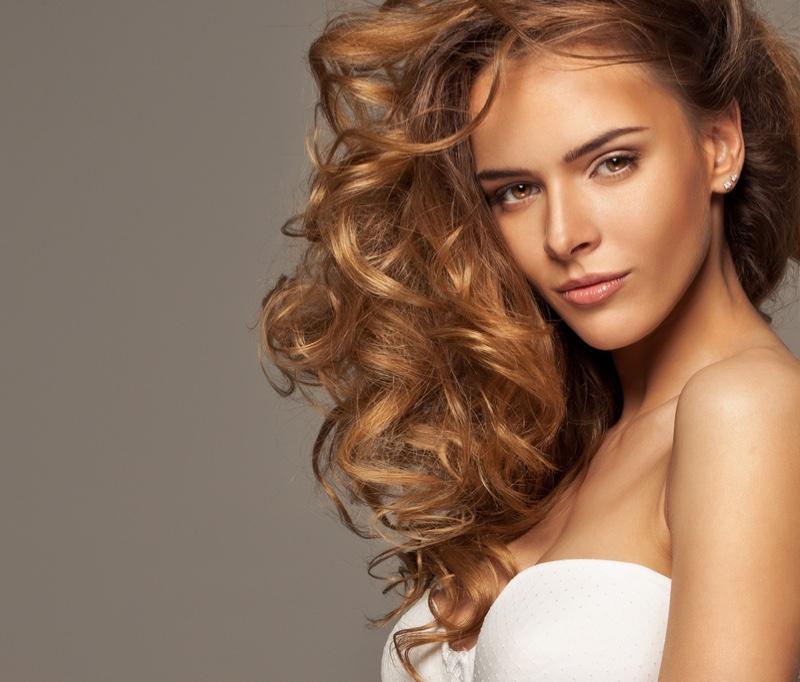 Model Strapless Bra Wavy Hair Glam Lingerie
