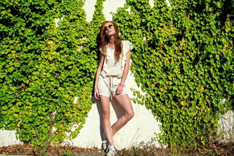 Model White Romper Style Fashion