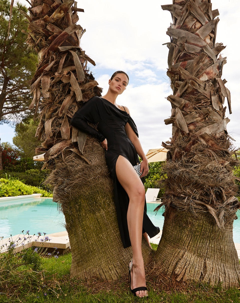 Myrtille Revemont Poses in Poolside Fashions for F Italia