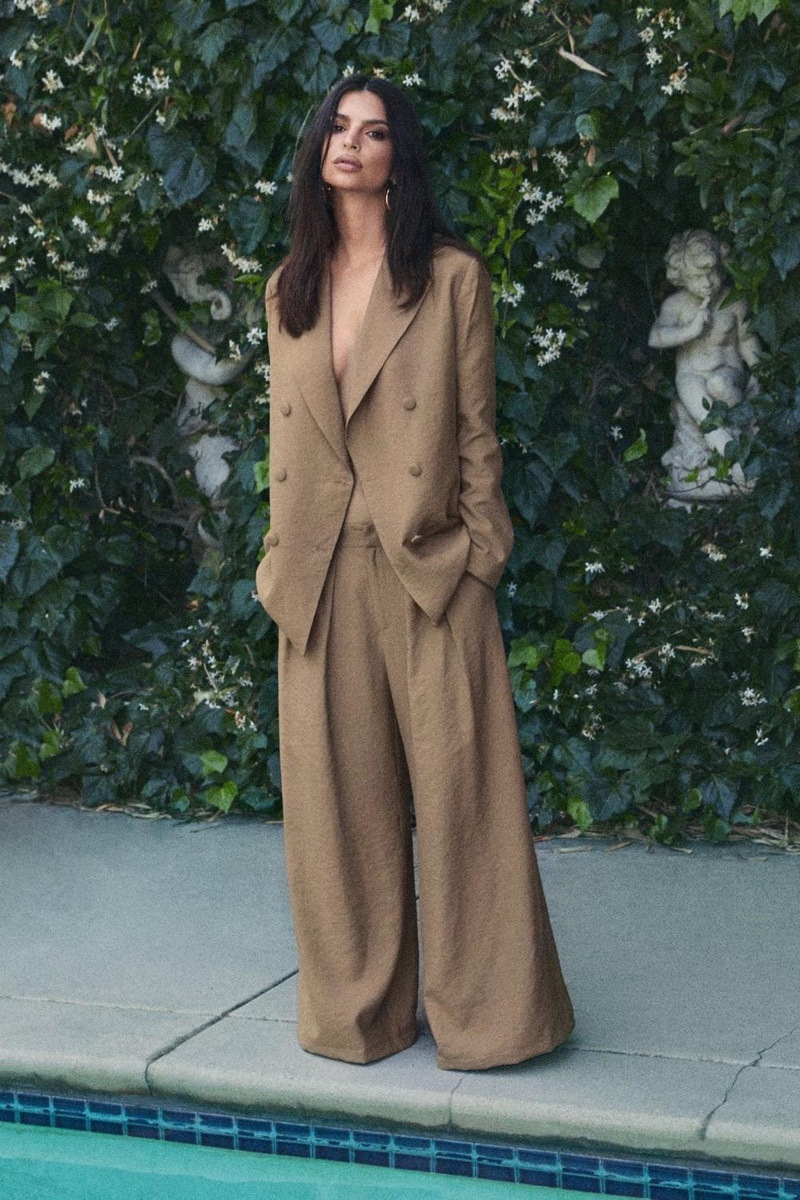 Nasty Gal x EMRATA Business As Usual Oversized Double Breasted Blazer $110 and Wide-Leg Belted Pants $80