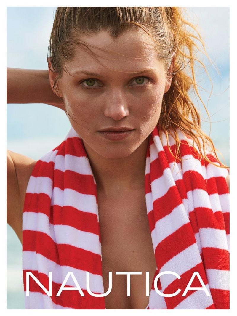 Hana Jirickova wears stripes in Nautica summer 2019 campaign