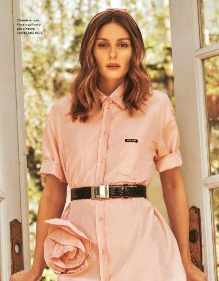 Looking pretty in pink, Olivia Palermo models a Miu Miu ensemble