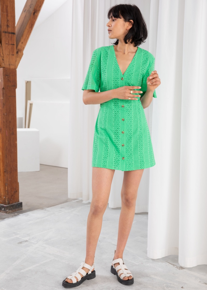 & Other Stories Cotton Dobby Button Up Mini Dress $99