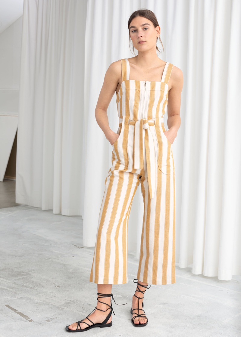 & Other Stories Cotton Linen Striped Jumpsuit $129