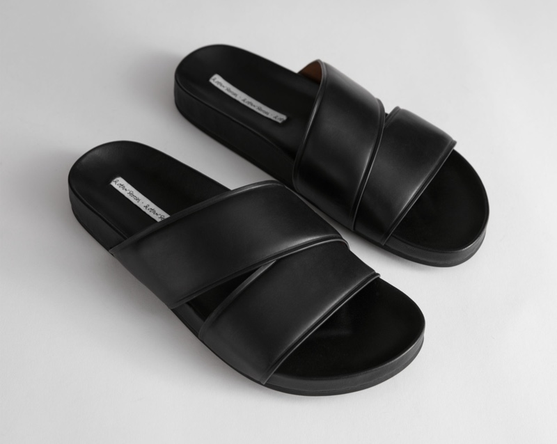 & Other Stories Criss Cross Leather Slip On Sandals $79