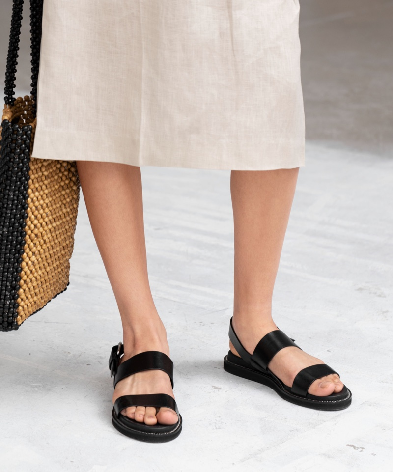 & Other Stories Diagonal Slingback Leather Sandals $79