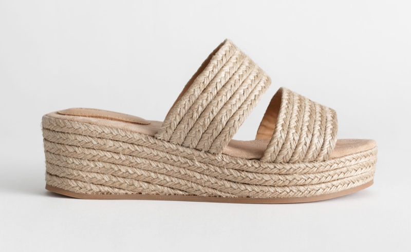 & Other Stories Duo Strap Woven Jute Wedges $79