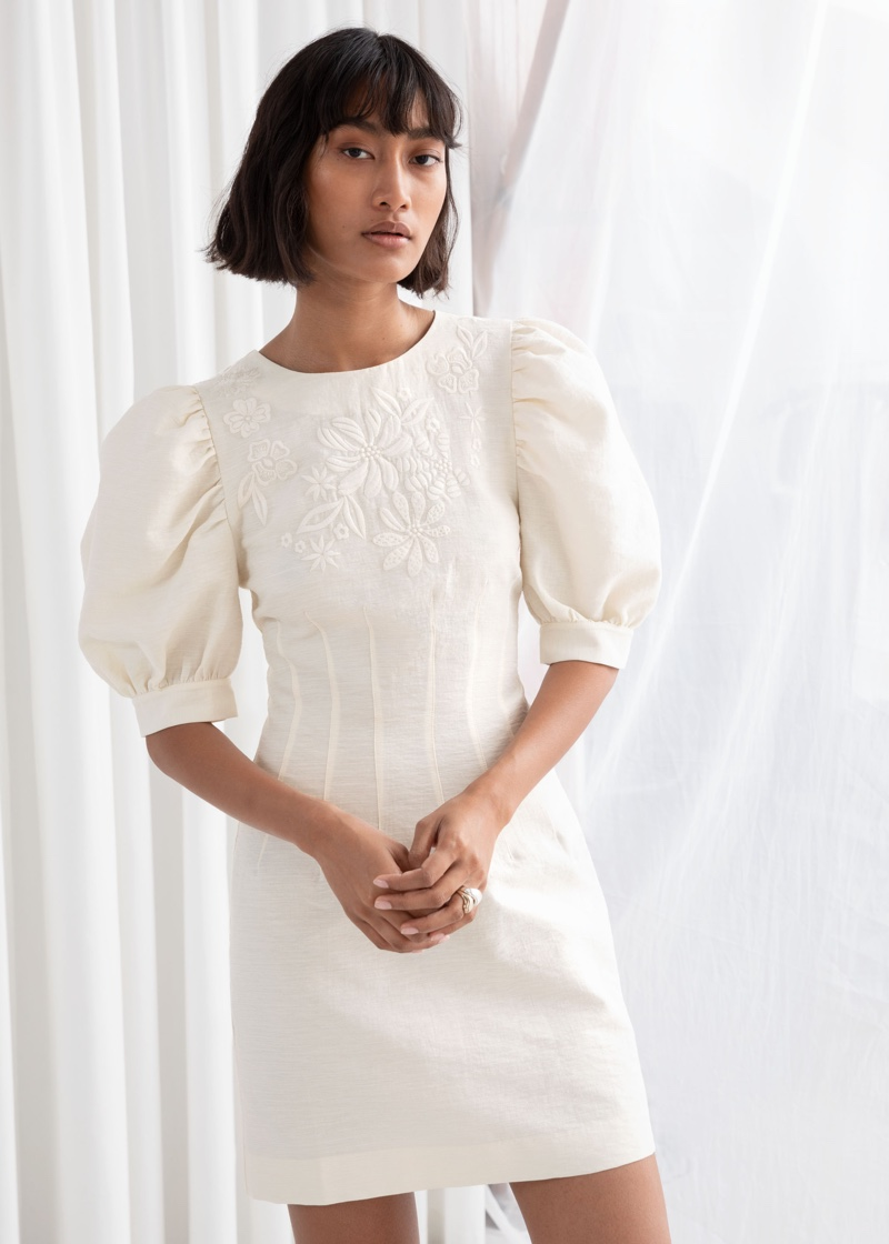 & Other Stories Embroidered Cotton Dress with Puff Sleeves $119