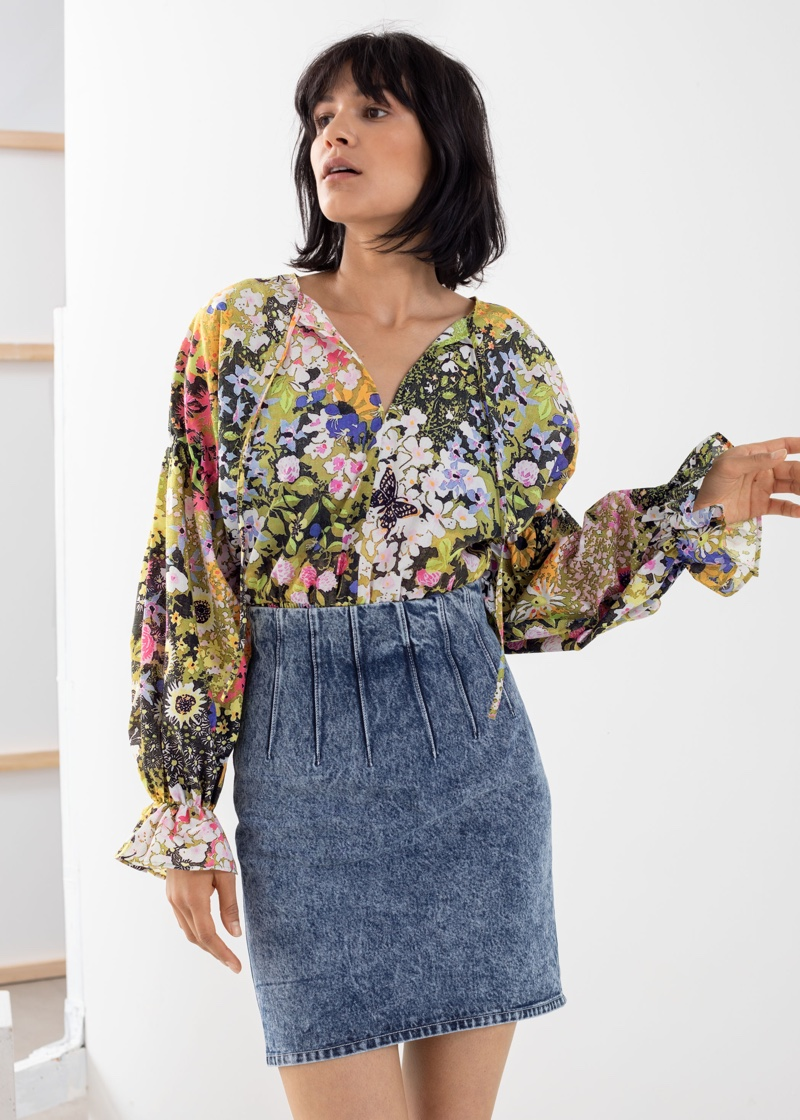 & Other Stories Floral Puff Sleeve Blouse $89
