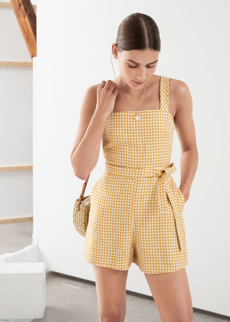 & Other Stories Gingham Square Neck Linen Romper $79