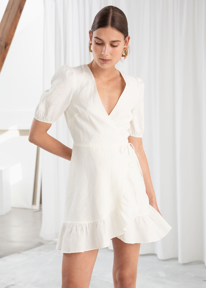 & Other Stories Puff Sleeve Linen Wrap Mini Dress $119