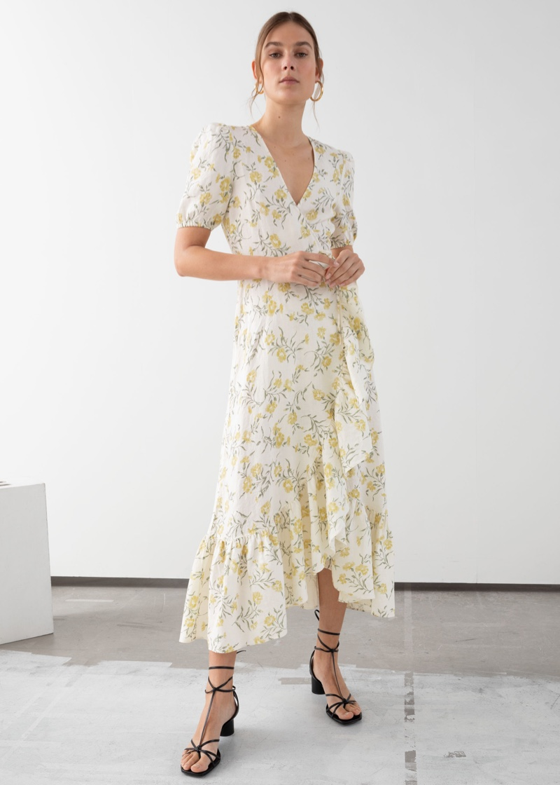 & Other Stories Ruffled Linen Wrap Midi Dress Floral Print $139