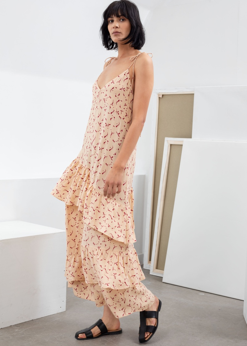 & Other Stories Ruffled Shoulder Tie Maxi Dress $129