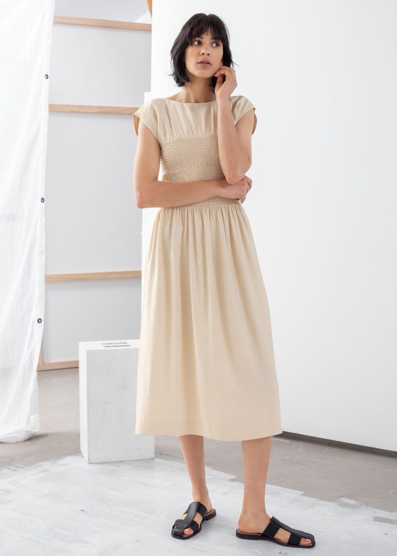& Other Stories Smocked Midi Dress $119