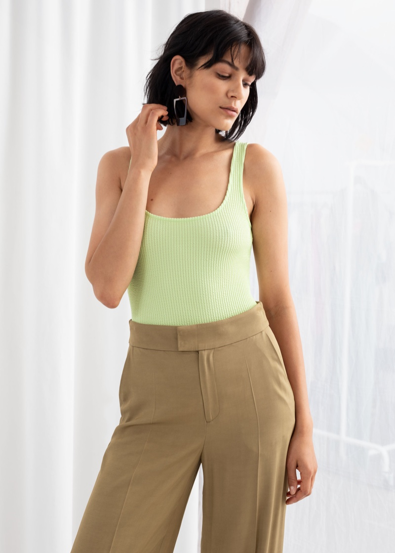 & Other Stories Stretch Ribbed Bodysuit $49