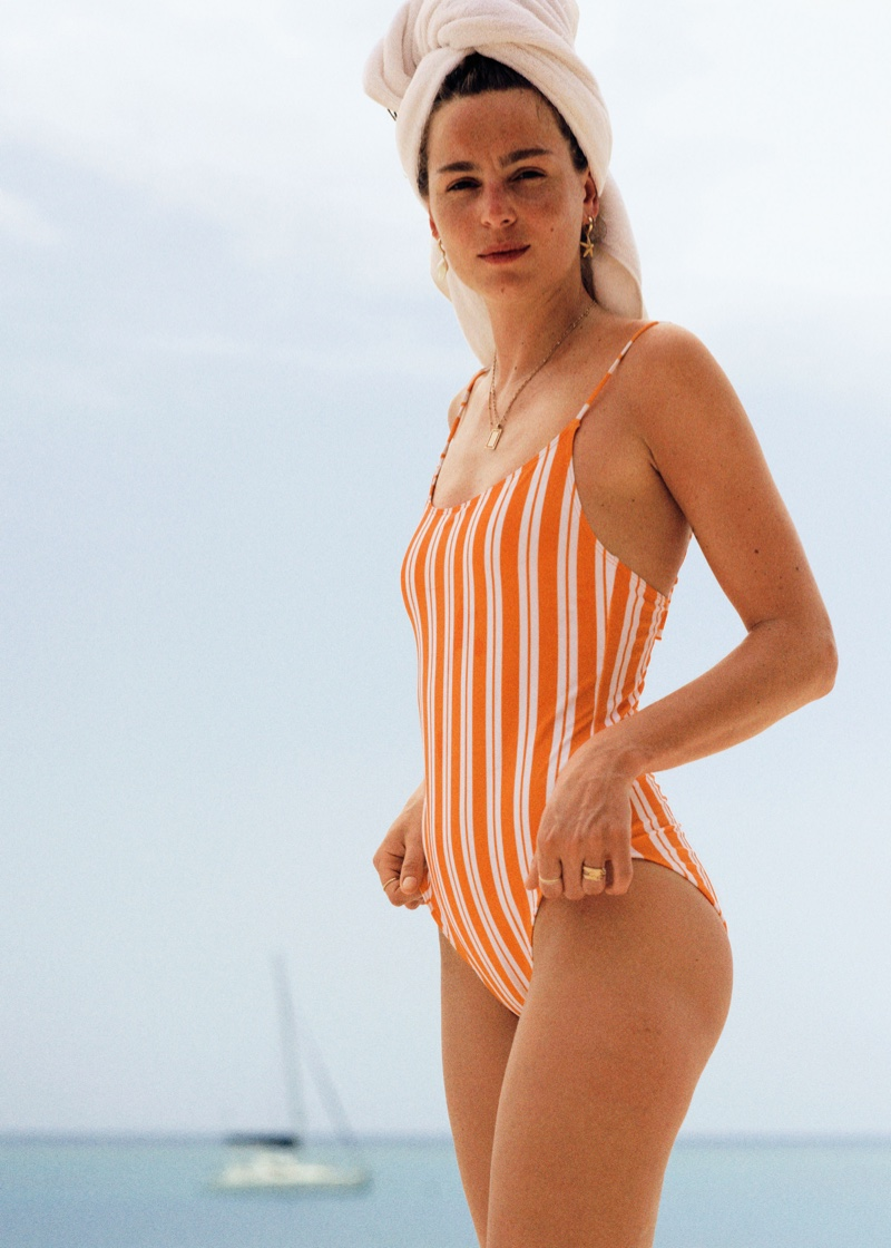 & Other Stories Striped Low Back Swimsuit $49