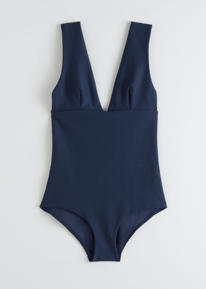 & Other Stories V-Cut Swimsuit in Navy $69