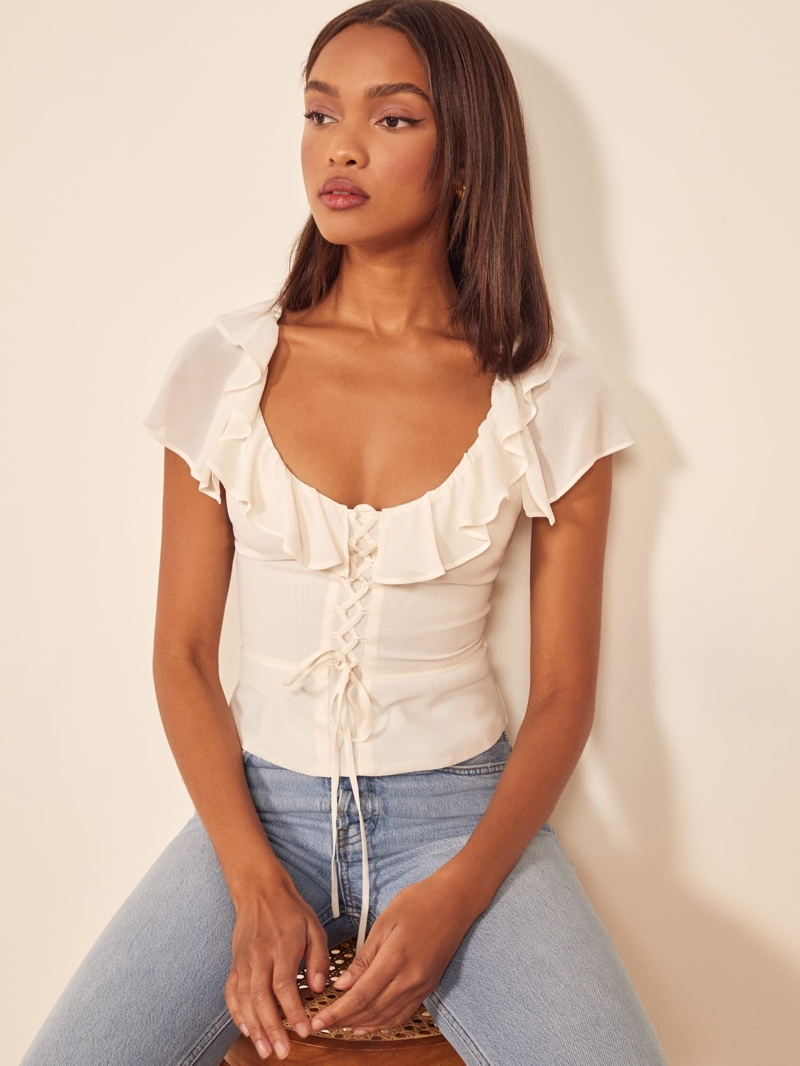 Reformation Fleur Top in Ivory $128