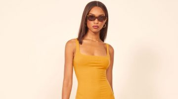 Reformation Karlie Dress in Ochre $78