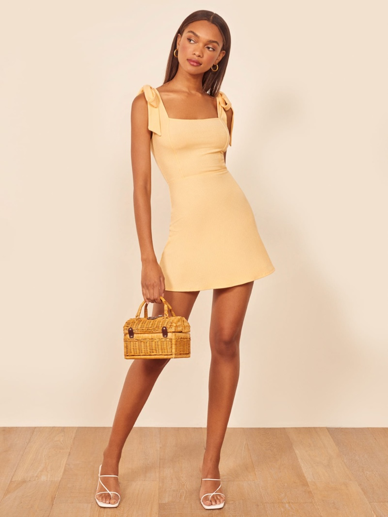 Reformation Liz Dress in Lemon $118