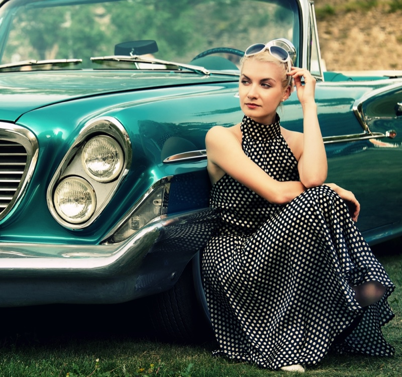 Retro Convertible Car Polka Dot Dress