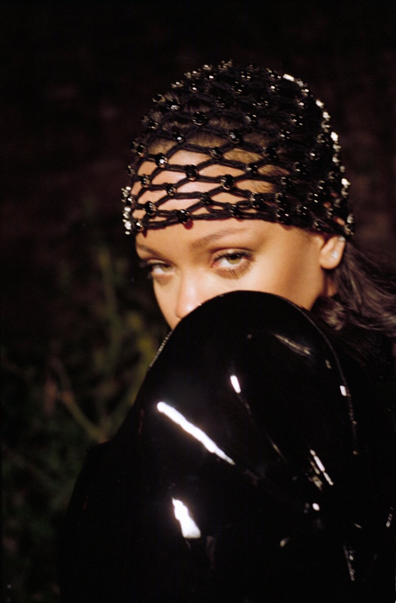 Ready for her closeup, Rihanna poses in Saint Laurent look
