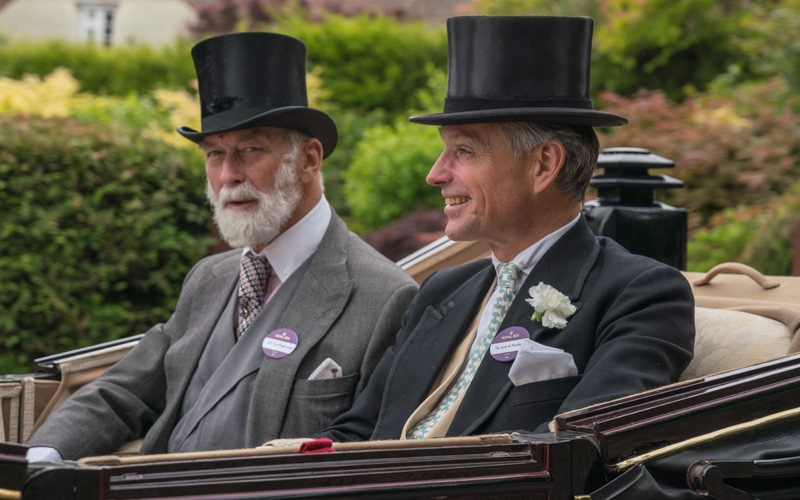 Stylish men during the carriage procession at Royal Ascot