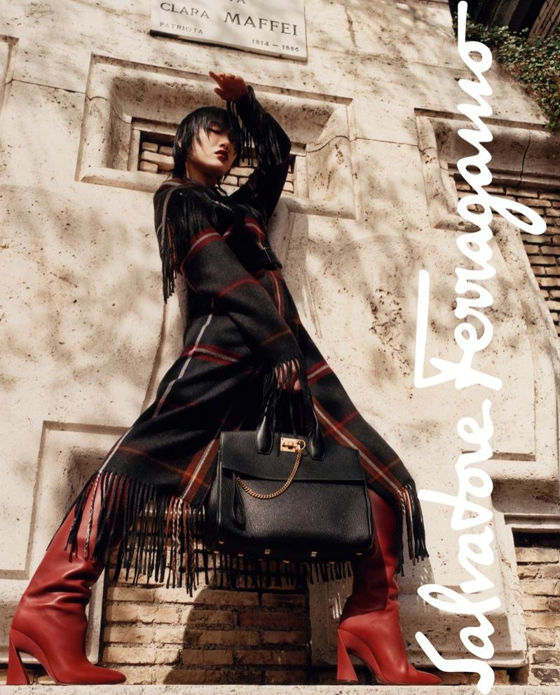 Sora Choi strikes a pose in Salvatore Ferragamo fall-winter 2019 campaign