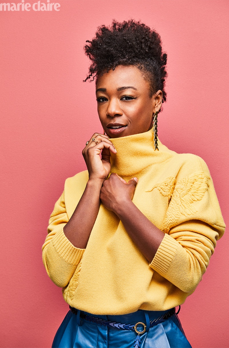 Samira Wiley poses for Marie Claire US fashion shoot