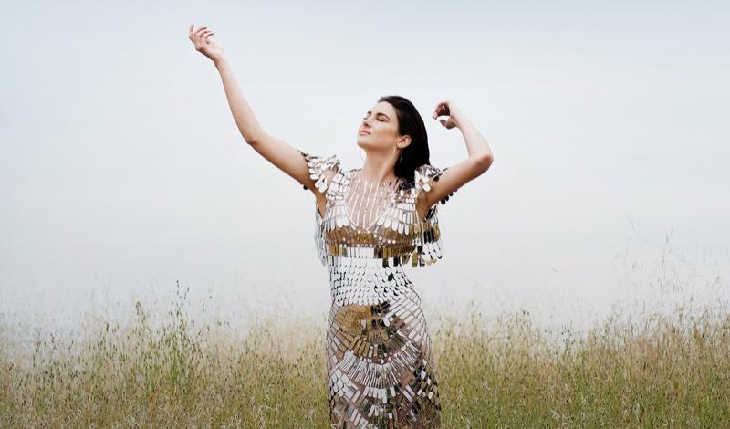 Turning up the shine factor, Shailene Woodley wears Alberta Ferretti dress with Jenny Bird earrings
