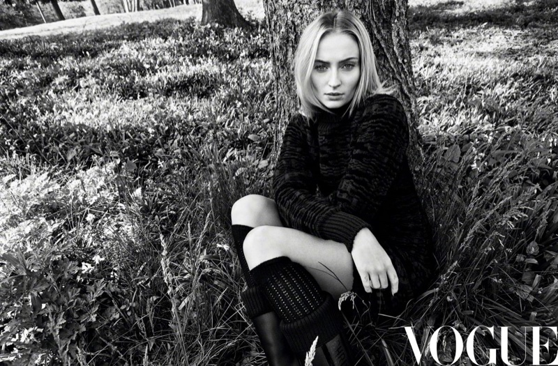 Actress Sophie Turner poses outdoors in the fashion shoot