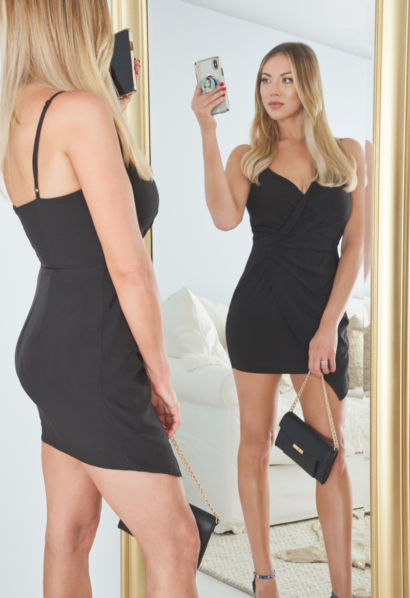 Stassi Schroeder poses for JustFab exclusive Outfit of the Day collection